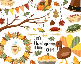 Fall Thanksgiving Clipart - Fall Items Download - Instant Download - Thanksgiving and Fall Items