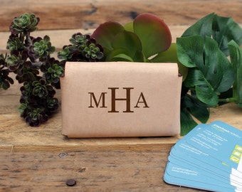 Genuine Leather Business Card Holder, Personalized Business Card Holder, Engraved Card Holder, Custom Card Holder --GLBCH-RAW-MHA