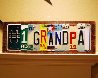 Number 1 GRANDPA - license plate sign / Fathers day / Grandpa gift