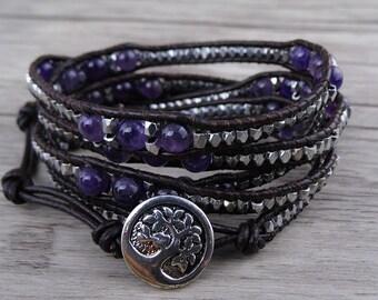leather waps bracelet 5 Waps bracelet Gemstone Bracelet Amethyst beads bracelet Boho Beads Bracelet Bass Beads Bracelet SL-0537