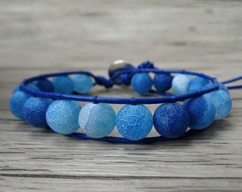 Blue Wrap Beads Bracelet Leather Bracelet Boho Beaded Bracelet frosted Navy blue Agate beads Bracelet Gyspy Beads Bracelet Jewelry SL-0207