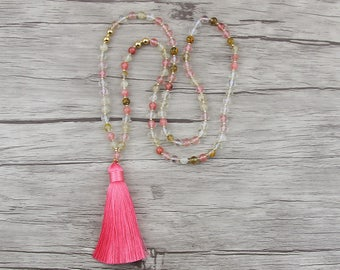 Watermelon crystal bead necklace Pink bead tassel necklace BOHO gemstone necklace bead yoga necklace Statement necklace Birthday Gift NL-025