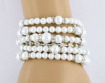 Bridal Bracelet, Pearl Bracelet, Bridesmaid Bracelet, Bridesmaid Gift Sets, 5 Strand Bracelet, Bridal Jewelry, Wedding Jewelry, Bracelet