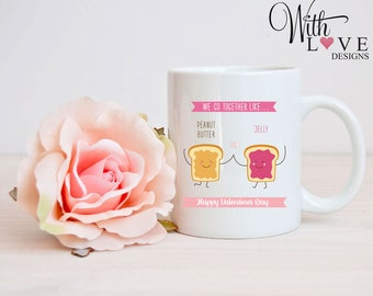 We Go Together Forever Peanut Butter Jam Boyfriend Girlfriend Couple Mr & Mrs Coffee Mug Tea Cup Personalised Valentines Day Present Gift