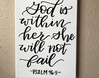 Acrylic Canvas God is within her she will not fail painting gold letters on white
