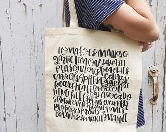 Fruits and veggies- screen printed - tote bag, market bag