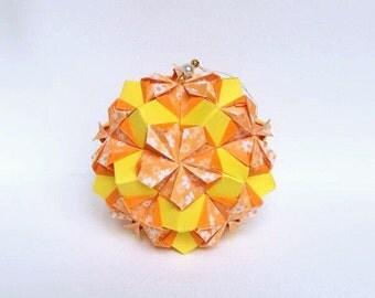 Yellow Kusudama Flower Ball, Orange Kusudama, 3D Origami Ball, Origami Art, Origami Ornament, Origami Decor, Japanese Decor, Flower Decor