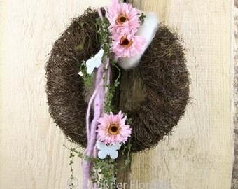 """Door wreath """"pink Gerbera"""""""