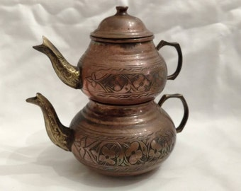 Vintage spong copper Anatolian Turkish Tea Set