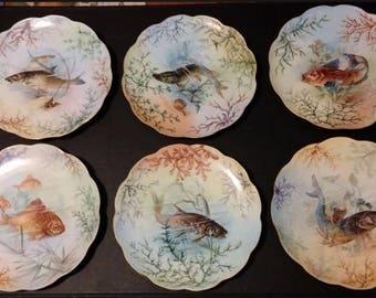 c1910 beautiful lot of 10 Haviland fish plates