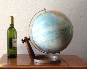 "Vintage Mid Century Modern World Globe, 12"" Diameter World Nation Series"
