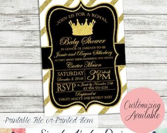 Elegant Royal Prince Baby Shower Invitation