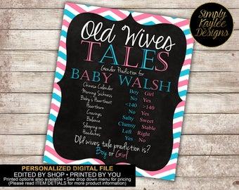 Old wive's tales gender reveal party game - Gender Reveal Party Game Printable