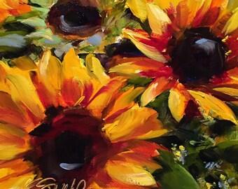 sunflowers // flowers // flower art // flower painting // sunflower art // sunflower painting // fine art // sunshine // yellow flower