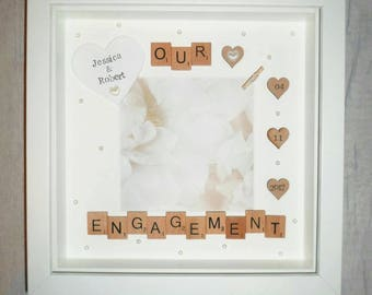 engagement giftengagement photo framepersonalised engagement giftour engagement framescrabble - Engagement Photo Frame