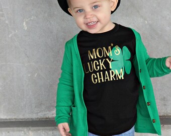 mom's Lucky charm shirt, st. patricks day shirt for boys, unisex st. patricks day tee, outfit, kids st pattys day, irish shirt, kiss me tee