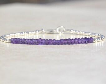 Amethyst Bracelet, Amethyst Birthstone Bracelet, February Birthstone, Beaded Gemstone Bracelet, Gift for Her, Hill Tribe Sterling Silver