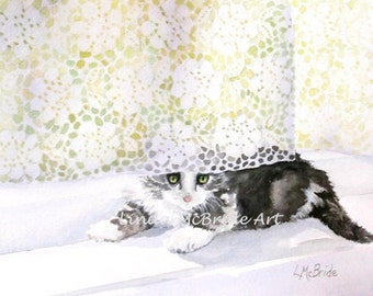 Kitten 'n' Lace original watercolor painting.
