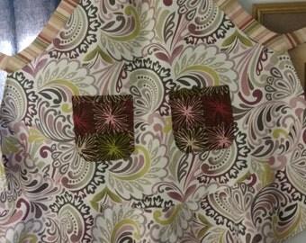 Fabric apron, Paisley print apron, Floral print apron, Kitchen apron, Baker's apron
