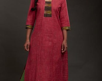 Indian Pink Khadi Kurta