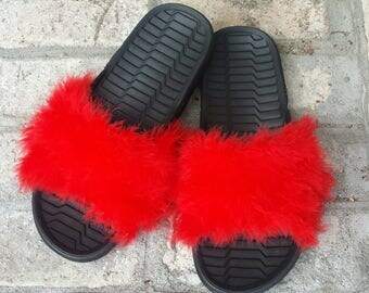 Red fuzzy slides - Fur Slides - Furry sandals - custom slides - Celebrity slides - Rhianna slides - Slides with fur -