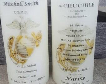 United States Marine Corps Graduation & Crucible Candle Have it Personalized EGA USMC Crucible Facts on Back Lantern