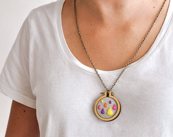 """Dandelyne: 1.6"""" (4 cm) Wooden Embroidery Hoop Necklace Kit"""