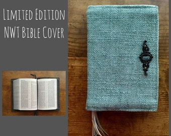 Custom Revised NWT Fabric Bible Cover in Moss Green