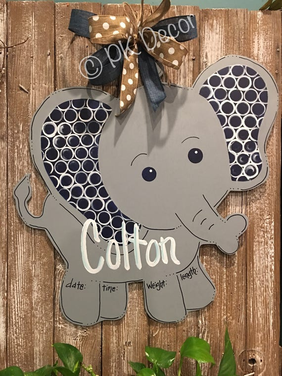 Baby Elephant Wood Door Hanger 24 Hospital Door Baby