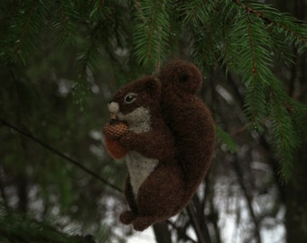 Needle felted squirrel hanging ornament