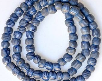 Antique Venetian Glass Gooseberry Beads - Blue Gooseberry Beads -  25 Inch Strand