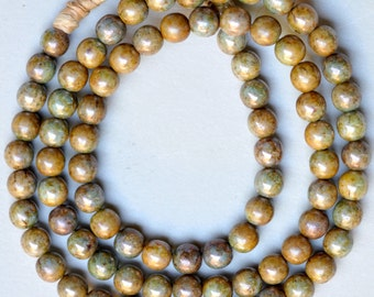 Vintage 8mm Round Glass Picasso Beads - Czech Glass Druk Beads - 8mm Beads - 26 Inch Strand