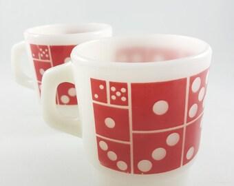 Vintage Fire King, Anchor Hocking, Stackable, D Handle, Red Dominos, Milk Glass Mugs Fireking mugs, Collector Mugs, Retro Mug Lot of 2