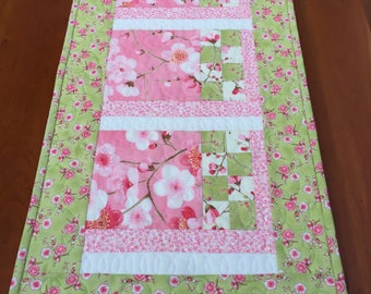 Spring Table Runner, Cherry Blossoms, Pink, Green And Cream, Sakura by Moda, Country or Shabby Chic Decoration