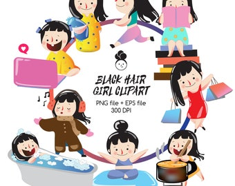 Black hair girl clipart,clipart commercial use,cute girl graphic,digital clipart,Vector graphic-A003
