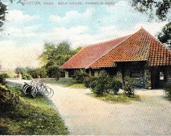 Boston, Massachusetts - Bicycles parked in front of the Golf House at Franklin Park - Vintage Postcard