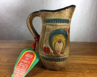 Chalkware Indian Symbol Vase