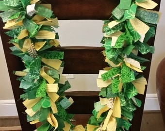 St. Patrick's Day Garland, Rag Garland, 5ft, St. Patrick's Party Decor, Green Garland, St. Patrick's Day Decoration