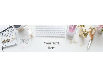 Etsy Banner (New Size) Gold and Pink Office Accessories Styled Stock Photo for branding Blog Banner