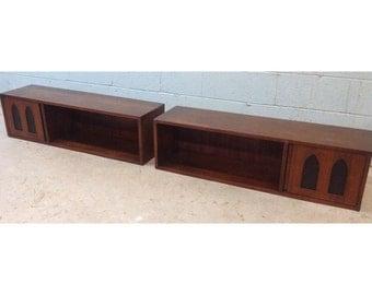 Pair of Mid Century Walnut Hanging Cabinets