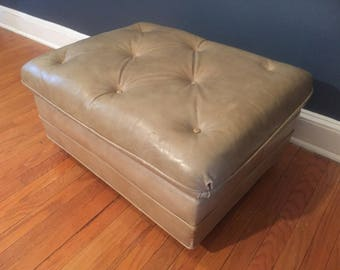Distressed Leather Ottoman on Wheels
