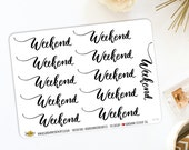 Script Weekend Transparent Labels Planner Stickers | Made for Bullet Journaling 527M
