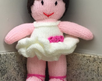 Pretty Hand Knitted Ballerina Doll ( ALL proceeds to charity )