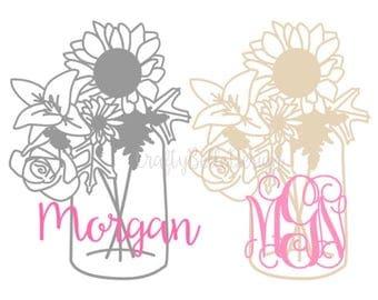 Mason Jar Decal | Mason Jar Monogram | Mason Jar Name Decal | Mason Jar Sticker | Notebook Sticker | Car Sticker | Flower Monogram | Vinyl
