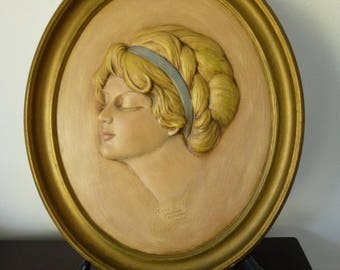 Vintage 1976 Erma Gilliland Duncan 1910 Ceramic plaque,Oval Wall Plaque,blonde woman,eyes closed,hand painted,dimensional face,decoration
