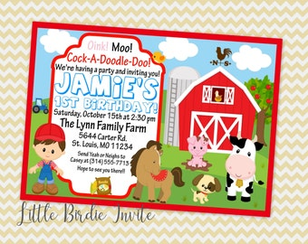 Barnyard Birthday Invitation | Boys Barnyard Birthday Invitation | Farm Birthday Invitation | Farm Animals Birthday Invitation | Printable