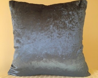 Inky Blue Velvet Cushion and Champagne Silk cushion reverse.