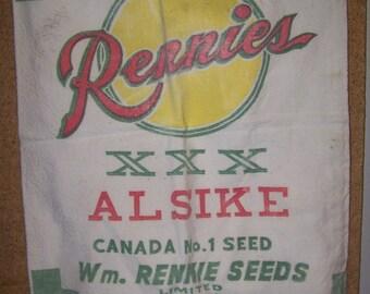 Cotton Rennies Seed Bag, vintage seed bag