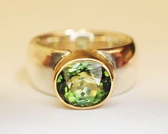 Ring Silber Gold Turmalin / You can buy me, but I will be from 28.08. made or sent