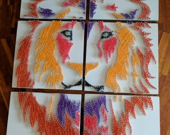Lion Head String Art Hand Made One of a Kind Wall Hanging Decoration